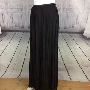 Lush Black Sheer Maxi Pleated Skirt Short Lining